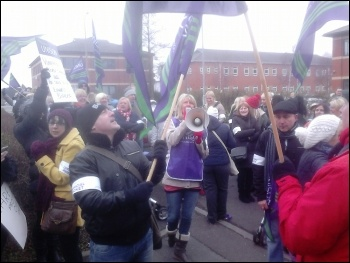 Doncaster Care UK workers striking in March 2014, photo by A Tice