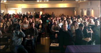 200 attended the Doncaster Care UK strike rally, March 2014, photo by A Tice