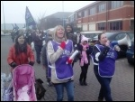 Striking Doncaster UK workers on the march, March 2014, photo A Tice