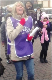 Striking Doncaster Care UK workers on the march, 2014, photo by A Tice