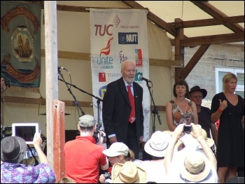 Tony Benn speaking at Tolpuddle in July 2013, photo Matt Carey