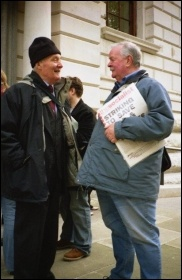 Tony Benn speaking with Socialist Party member Bill Mullins , photo Alison Hill