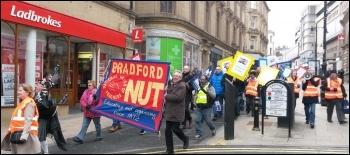 NUT demo, Bradford, 26.3.14, photo by Iain Dalton