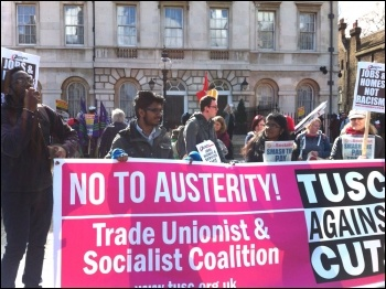 TUSC candidates on the UN anti-racism day demo in London, 22 March 2014, photo Paula Mitchell
