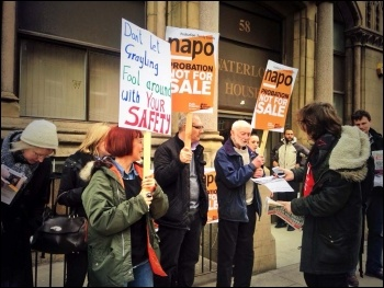 Napo picket in Leeds, 31.3.14, photo by Tanis Belsham Wray