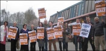 Napo strike in Salford, 31.3.14, photo by H Caffrey