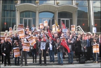NAPO strikers together with barristers who joined their strike rally in Manchester, and others. 1.4.14, photo by H Caffrey