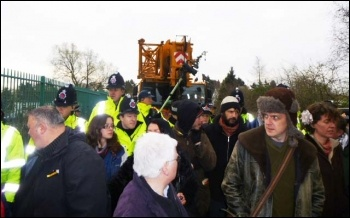 Barton Moss anti-fracking protesters, March 2014, photo Dylan Murphy