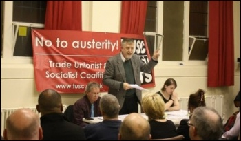 Dave Nellist speaking, Coventry Vote Socialist 2014 meeting, 26.3.14, photo Coventry SP
