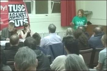 Jane Nellist speaking,  Coventry Vote Socialist 2014 meeting, 26.3.14