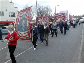 Marching through Edlington in Doncaster on Saturday 5 April