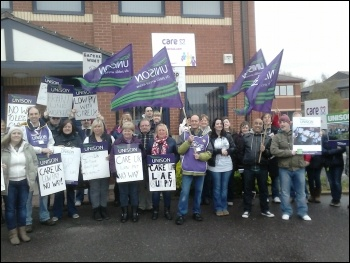 Strikers rally outside Care UK office on Sunday 6 April, photo by A Tice