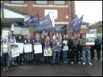 Strikers rally outside Care UK office on Sunday 6 April, photo A Tice