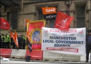 Anti-privatisation lobby of Manchester council, 8.4.14, photo Hugh Caffrey