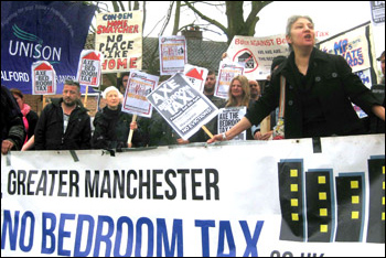 Bedroom tax anti-eviction protest in Salford, photo Hugh Caffrey