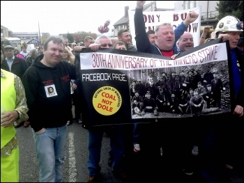 Goldthorpe miners anniversary march, April 2014, photo A Tice