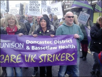 Doncaster Care UK strike, Easter 2014, photo by A Tice