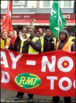 Mitie cleaners on London Underground demanding decent pay, photo Neil Cafferky