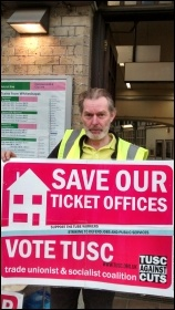 Len Rowlands, RMT picket Whitechapel station & TUSC candidate St Peter's ward, Tower Hamlets, photo N Byron