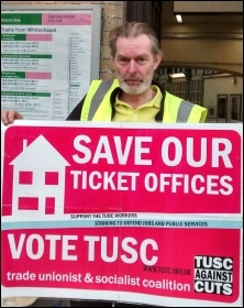Len Rowlands, RMT picket Whitechapel station & 2014 TUSC candidate St Peter's ward, Tower Hamlets