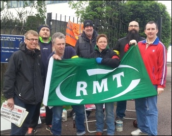 Picket line at Acton, 29.4.14, photo by Neil Cafferky