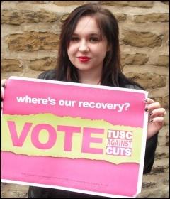 Corrina Smith Gateshead TUSC candidate, photo Elaine Brunskill
