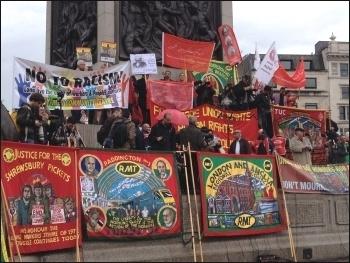 The speakers' platform in Trafalgar Square, 1st May 2014, photo J Beishon