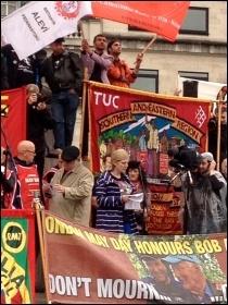 Natasha Hoarau speaking in Trafalgar Square, 1.5.14, photo by J Beishon