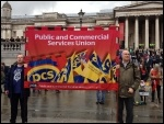PCS banner in  Trafalgar Square, 1.5.14, photo J Beishon