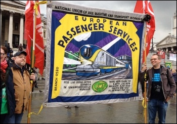One of the many RMT banners in Trafalgar Square, 1.5.14, photo by J Beishon