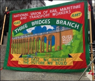 RMT banner in Trafalgar Square, 1.5.14, photo by J Beishon