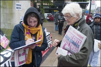 Selling the Socialist when campaigning for TUSC in Hackney, photo Paul Mattsson