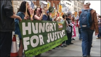 Fast Food Rights protest for decent pay, London, photo YFJ