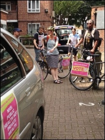 Getting ready to go; TUSC cavalcade in Hackney, 17.5.14, photo Judy Beishon
