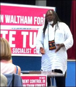 Glenroy Watson, RMT, Waltham Forest TUSC rally, May 2014
