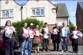 Socialist Party members taking part in Derby TUSC campaigning in 2014, photo Elaine Evans