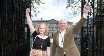 Ruth Coppinger and Joe Higgins outside the Irish Parliament