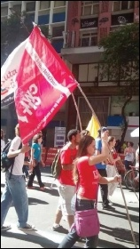 Members of the Socialist Party's sister party in Brazil marching in solidarity with strikers, photo CWI