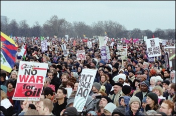 Part of the massive demo against war in Iraq, 15 February 2003, photo by Molly Cooper
