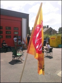 FBU picket in Huntingdon, 21.6.14, photo by R Cossey-Mowle