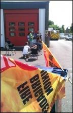 FBU picket in Huntingdon, 21.6.14, photo R Cossey-Mowle
