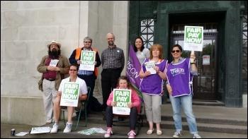 10 July 2014 public sector strike, Guildhall, Swansea council, photo E Schluessel