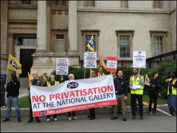 10 July 2014 public sector strike, PCS members at the National Gallery, London, photo by Judy Beishon