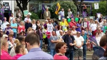 Swansea rally, public sector strike 10.7.14, photo E Schuessel