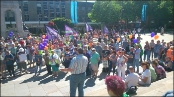 Rally in Bolton, public sector strike 10.7.14, photo by M Kilsby