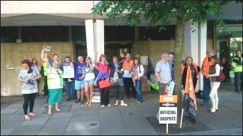 A picket line in Bolton, 10th July 2014 , photo by M Kilsby