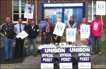Spelthorne borough council Unison picket line, supported by Paul Couchman from Surrey County Unison and Helen Couchman from Unison's community service group executive.