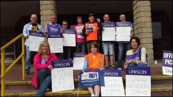 10th July strike in Camarthen, photo by Ken Smith