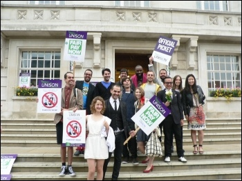 Wedding party joins the Hackney town hall picket line following a 200 strong rally of council workers. Photo sent by Brian Debus