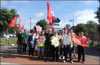 Unite picket line at a sports centre, Birkenhead, Wirral, 10.7.14, photo by S. Ion